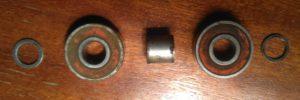 Bearings, washer and bearing spacer