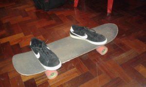 standing on skateboard